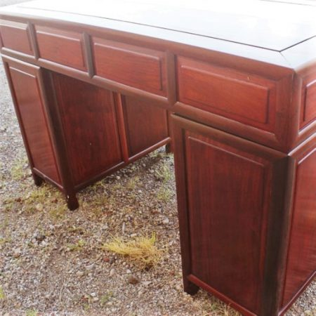 Vintage Asian Solid Rosewood Double Pedestal Desk