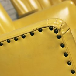 Vintage Bright Yellow Vinyl Channel Back Club Chairs