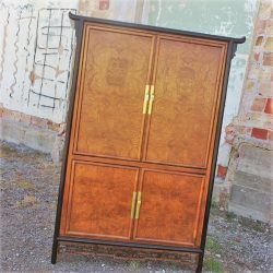 Vintage Century Furniture Asian Style Entertainment Armoire Cabinet of Ebonized Maple & Burl Ash