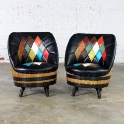 Mid Century Whiskey Barrel Swivel Barrel Chairs by Brothers of Kentucky, a Pair