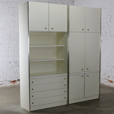 Mid Century Modern White Laminate Wall Unit Bookcase Display Cabinets, a Pair
