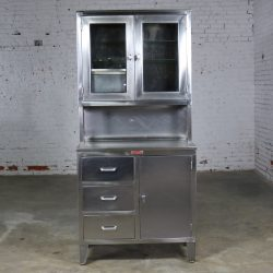 Vintage Stainless Steel Cupboard Industrial Medical Step Back Cabinet by Fischman-3