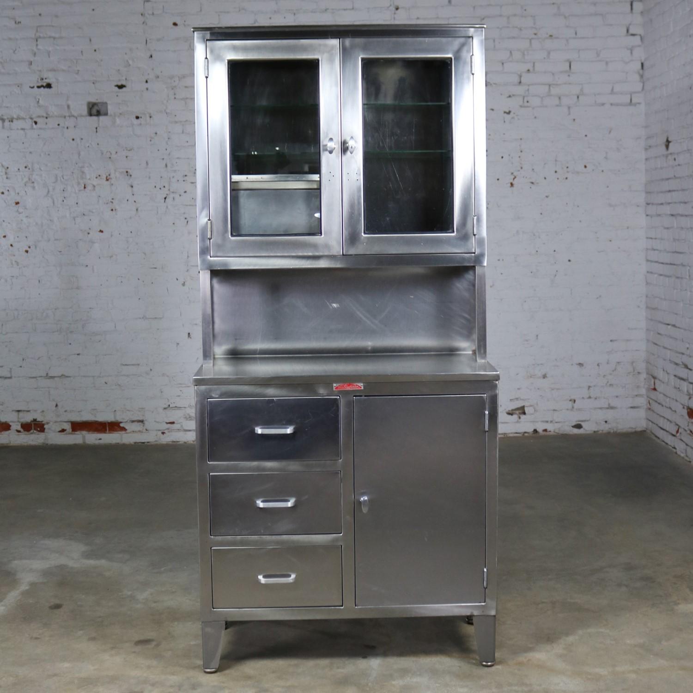 Vintage Stainless Steel Cupboard Industrial Medical Step