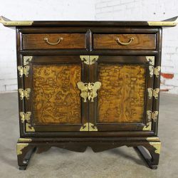 Small Korean Design Asian Accent Scholar's Cabinet Vintage with Brass Butterflies