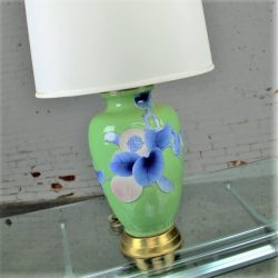 Vintage Large Ceramic Green Vase Lamp w/Blue & Lavender Bird, Branches & Fruit Chinoiserie Design