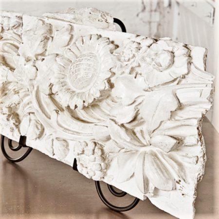 Antique Plaster Sunflower Architectural Relief - unique