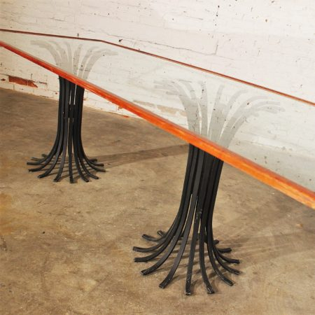 Vintage Hollywood Regency Double Iron Pedestal Glass-Top Dining Table