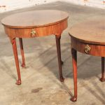 Vintage Pair of Baker Georgian Style Round End Tables from Old World Line