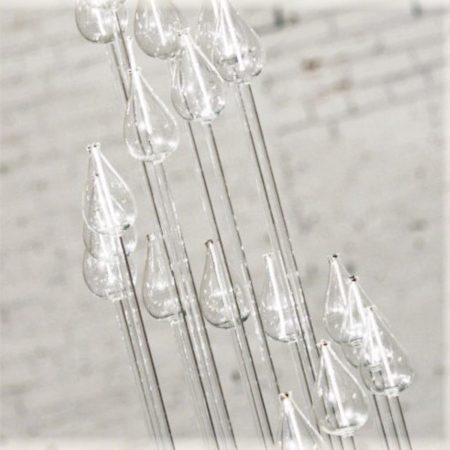 MCM Glass Rod Multi Light Oil Candelabra Centerpiece on Lucite Base