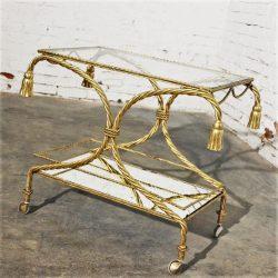 Vintage Italian Gilt Twisted Rope Tiered Tea Cart or Bar Cart