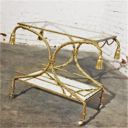 Vintage Italian Gilt Twisted Rope Tiered Tea Cart or Bar Cart