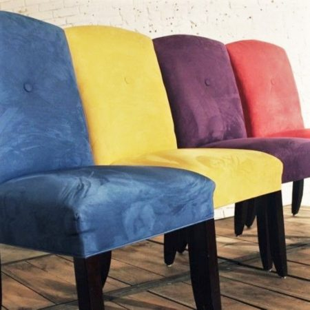 Bold and Bright Ultra Suede Dining Chairs, Set of 4