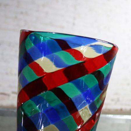 Fasce Ritorte Red Blue Green Murano Glass Vase Attributed to Fulvio Bianconi for Venini