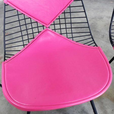 4 DKX-2 Wire Bikini Shell Chairs w/ X Bases & Hot Pink Bikinis by Eames for Herman Miller