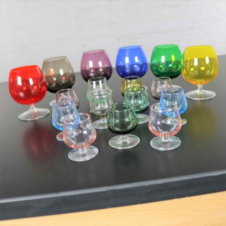 Set of 17 Multi Color Snifter Cocktail Glasses in Two Sizes