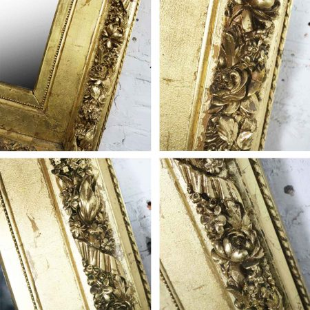 Monumental Antique Gold Leaf Gesso Framed Mirror with Floral Garland Design