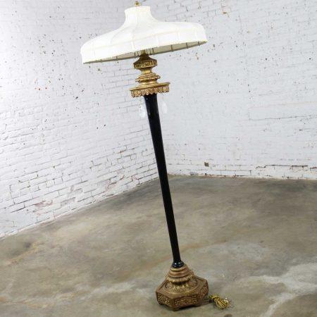 Large Beaux Arts Black & Gilt Floor Lamp with Handmade Shade & Teardrop Pendants