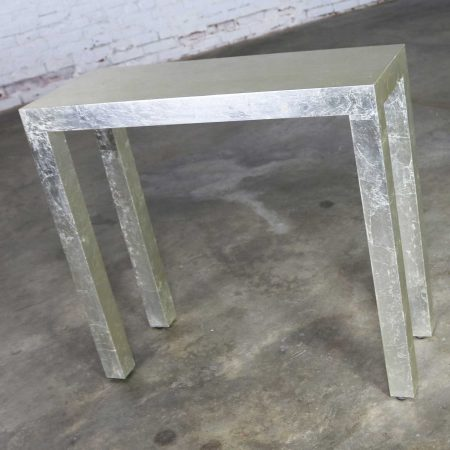 Hollywood Regency Silver Leafed Parsons Console Table and Mirror Set