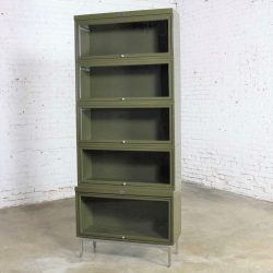 HOLD – Industrial Army Green Metal Barrister Five Section Stacking Bookcase with Glass Fronts