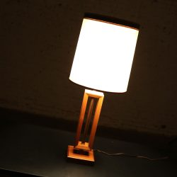 Small Scale Mid Century Modern Walnut and Brass Lamp Style of Laurel Lamp Mfg. Co.