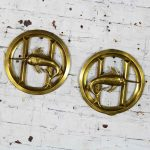 Pair Solid Brass Porthole Cover Grills with Swordfish Design Nautical Décor