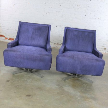 Pair of Aubergine Scoop Swivel Lounge Chairs with Metal Base by Barbara Barry for HBF