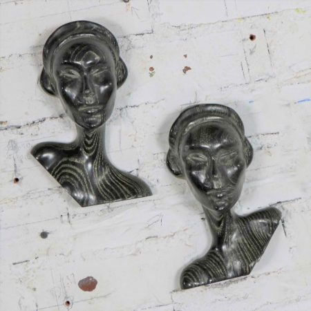 Art Deco Style Ebonized Oak Carved Female Bust Vintage Wall Sculptures, a Pair