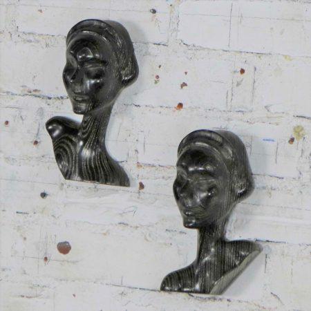 Art Deco Style Ebonized Oak Carved Female Bust Vintage Wall Sculptures, a Pair