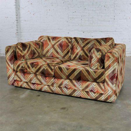 Tuxedo Mod Loveseat Sofa in Jack Lenor Larsen Style Fabric