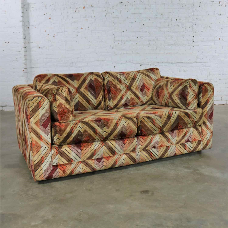 Marvelous Tuxedo Mod Loveseat Sofa In Jack Lenor Larsen Style Fabric Customarchery Wood Chair Design Ideas Customarcherynet