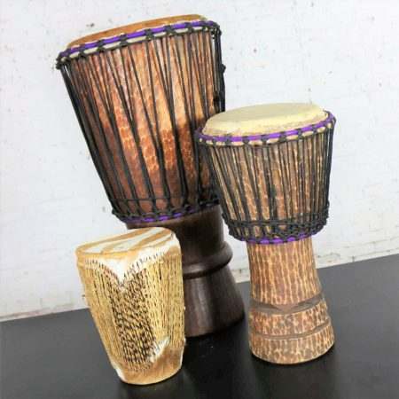 Trio of Tribal Drums Carved Wood and Animal Hide