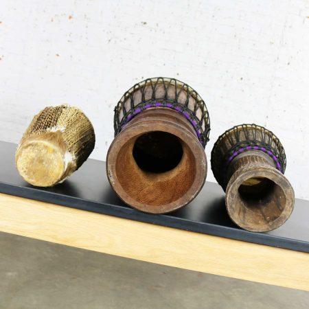 Trio of Tribal Drums Carved Wood and Animal Hide