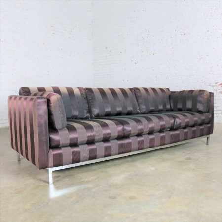 Mid Century Modern Chrome Cube Tuxedo Sofa in Style of Knoll or Baughman