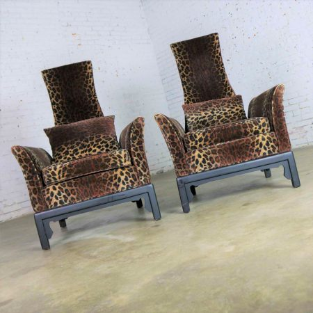Pair Hollywood Regency High Back Chairs in Velvet Animal Print & Style of James Mont