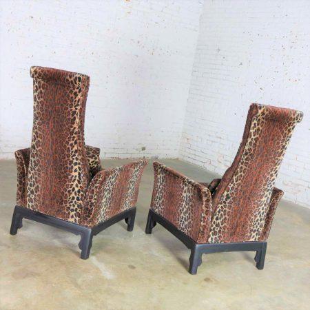 Pair Hollywood Regency High Back Chairs in Velvet Animal Print & Style of James Mont