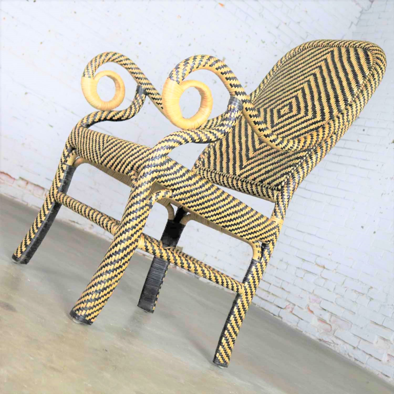 Two Tone Chevron Pattern Rattan Wicker Tall Back Chair