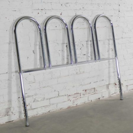 Chrome Tube Vintage Mid-Century Modern Four Arch Full-Size Headboard