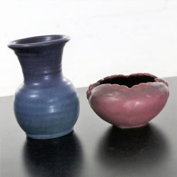 Pair of Van Briggle Pottery Pieces Persian Rose Bowl and Lilac Blue Vase