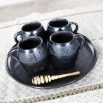 Black Clay Barro Negro Pottery Hot Chocolate Set Oaxaca Mexico 4 Mugs and Fish Tray