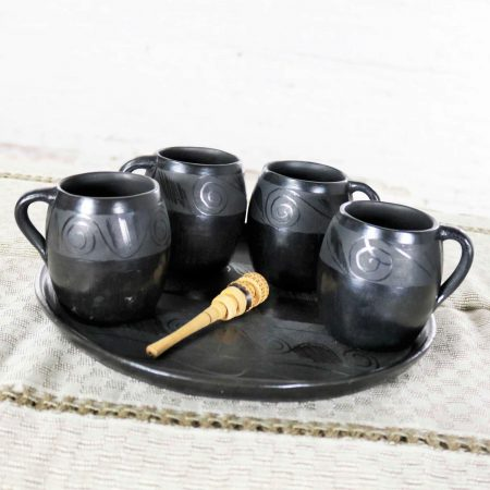 Black Clay Barro Negro Pottery Hot Chocolate Set Oaxaca Mexico 4 Mugs and Fish Tray