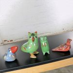 Vintage Tonala Pottery Birds Owls Toucan Dove Hand Painted Made in Mexico Set 4