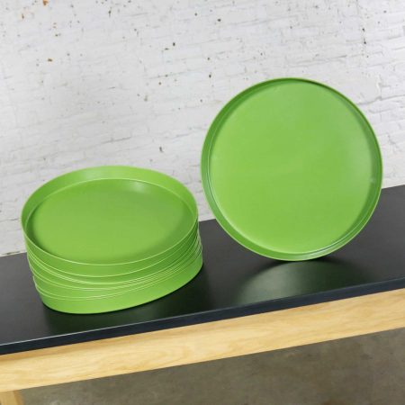 Mid Century Modern Trays Green Black and White Round Plastic Splatter Platters by Sabe's