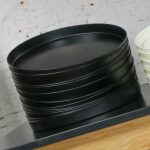 Mid Century Modern Trays Round Black Plastic Splatter Platters by Sabe's