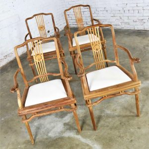 Set of Four Natural Teak Indonesian Ming Style Dining Armed Chairs with Upholstered Seats