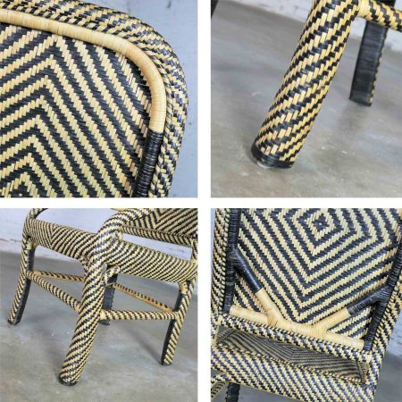 Two-Tone Chevron Pattern Rattan Wicker Tall Back Chair with Spiral Arms