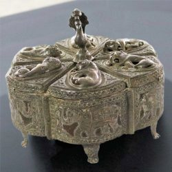 Antique India Pierced Silver Overlay Spice Box with Six Compartments