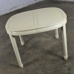 White Fine Furniture Asian Ming Chinoiserie Style Off White Lacquer Oval Dining Table