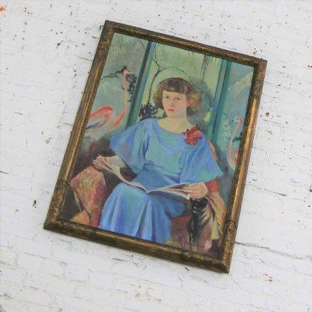 Large Signed Oil Portrait Titled Betsy by Barbara Hunter Watt 1936