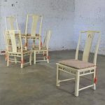 White Fine Furniture Asian Ming Chinoiserie Style Off White Lacquer Dining Chairs Six