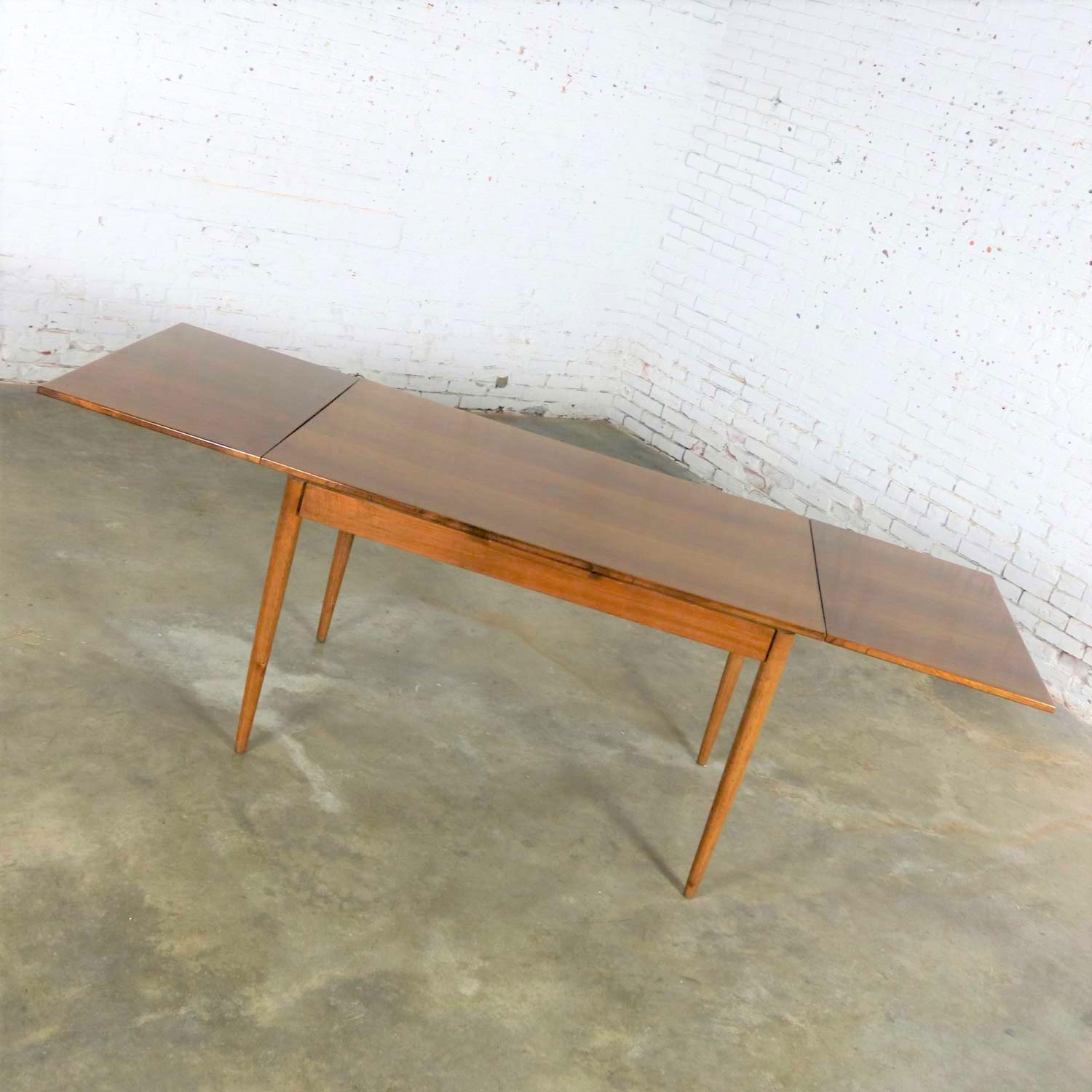 Mid Century Modern Draw Leaf Extending Dining Table After